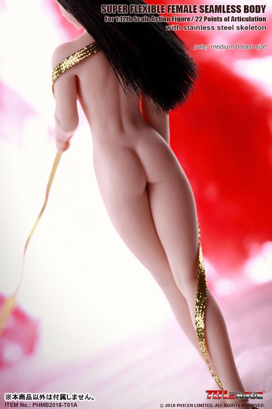スーパーフレキシブル『女性シームレスボディ ステンレススティールスケルトン ミドルバスト ペール』1/12 ドール素体-006