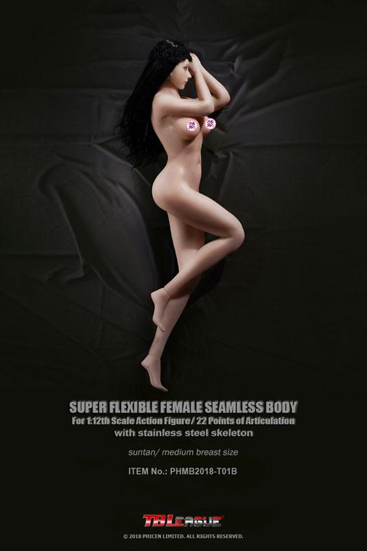 スーパーフレキシブル『女性シームレスボディ ステンレススティールスケルトン ミドルバスト サンタン』1/12 ドール素体-001