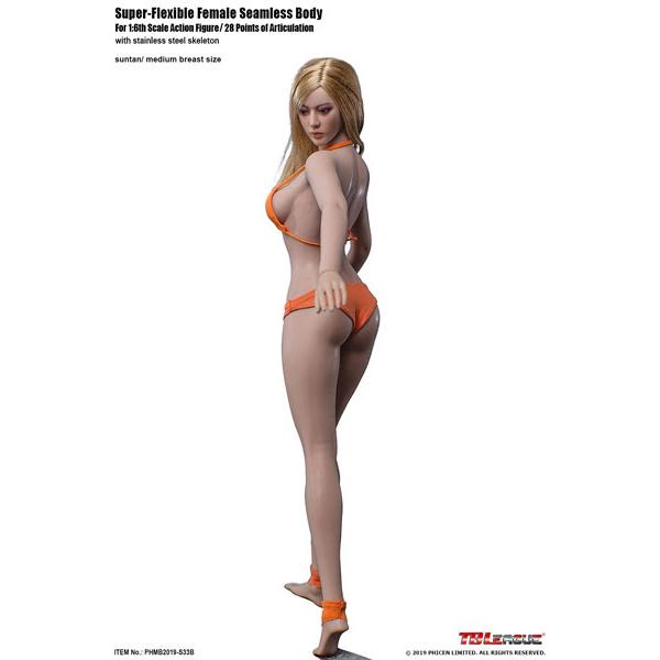 1/6 スーパーフレキシブル『女性シームレスボディ(サンタン)ミドルバスト モデル体型 S33B』ドール素体
