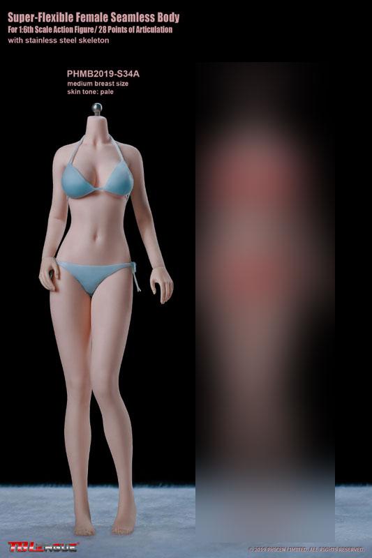 1/6 スーパーフレキシブル『女性シームレスボディ ペール ミドルバスト 少女体型 S34A』ドール素体-001