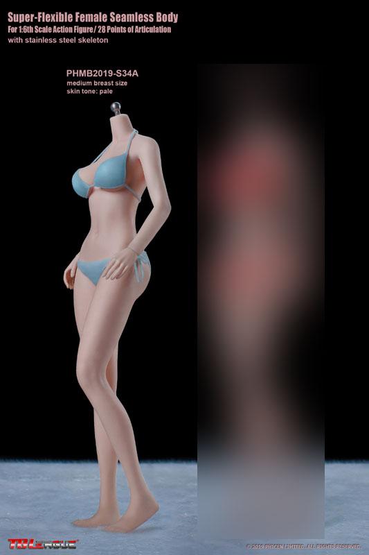 1/6 スーパーフレキシブル『女性シームレスボディ ペール ミドルバスト 少女体型 S34A』ドール素体-002